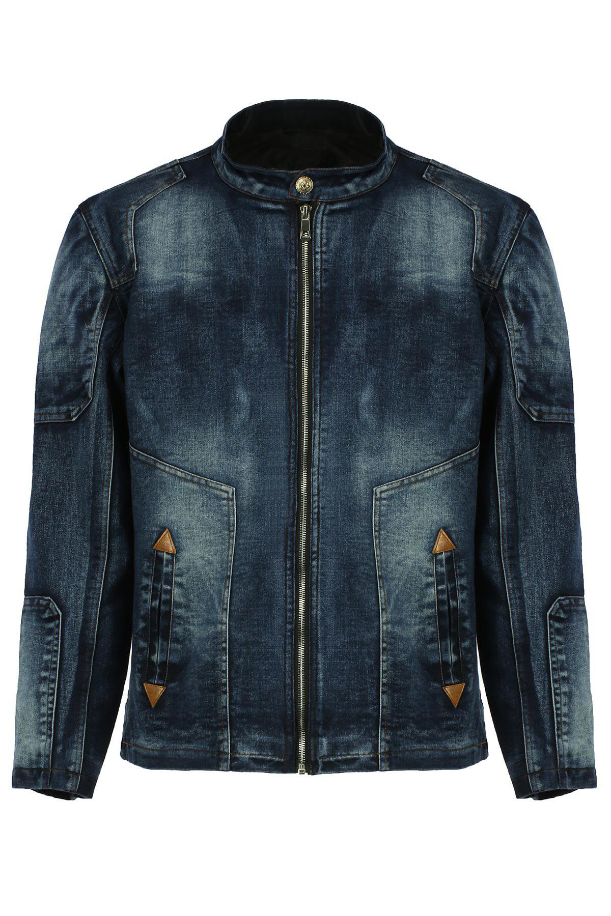 PU Leather Embellished Stand Collar Long Sleeves Men's Ombre Denim Jacket - BLUE 2XL