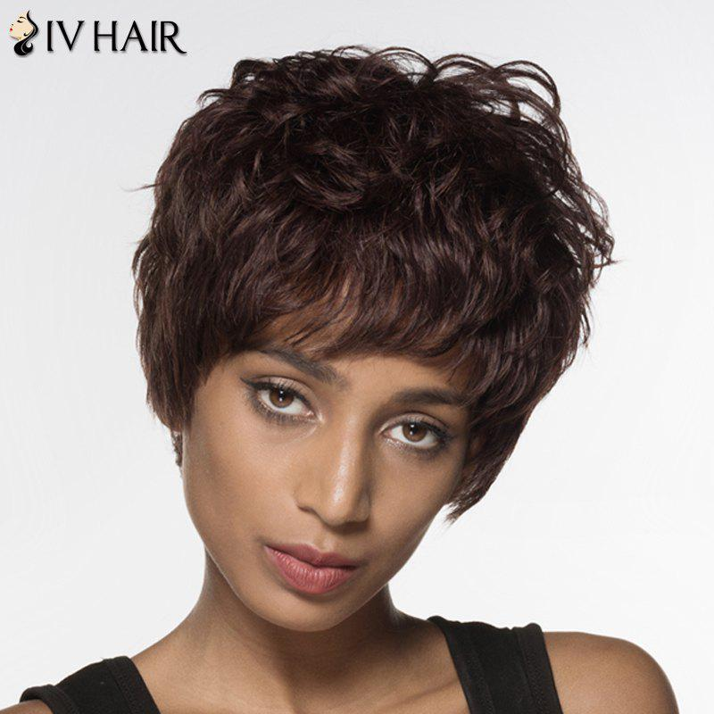 Elegant Short Real Natural Hair Fluffy Curly Siv Hair Capless Wig For Women - DARK BROWN