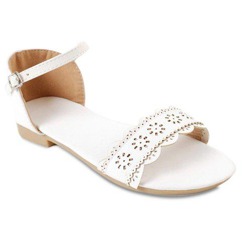 Leisure Flat Heel and Engraving Design Womens SandalsShoes<br><br><br>Size: 39<br>Color: WHITE