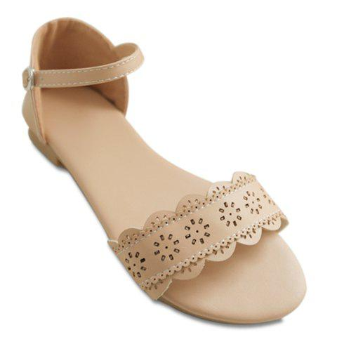 Leisure Flat Heel and Engraving Design Women's Sandals - APRICOT 38