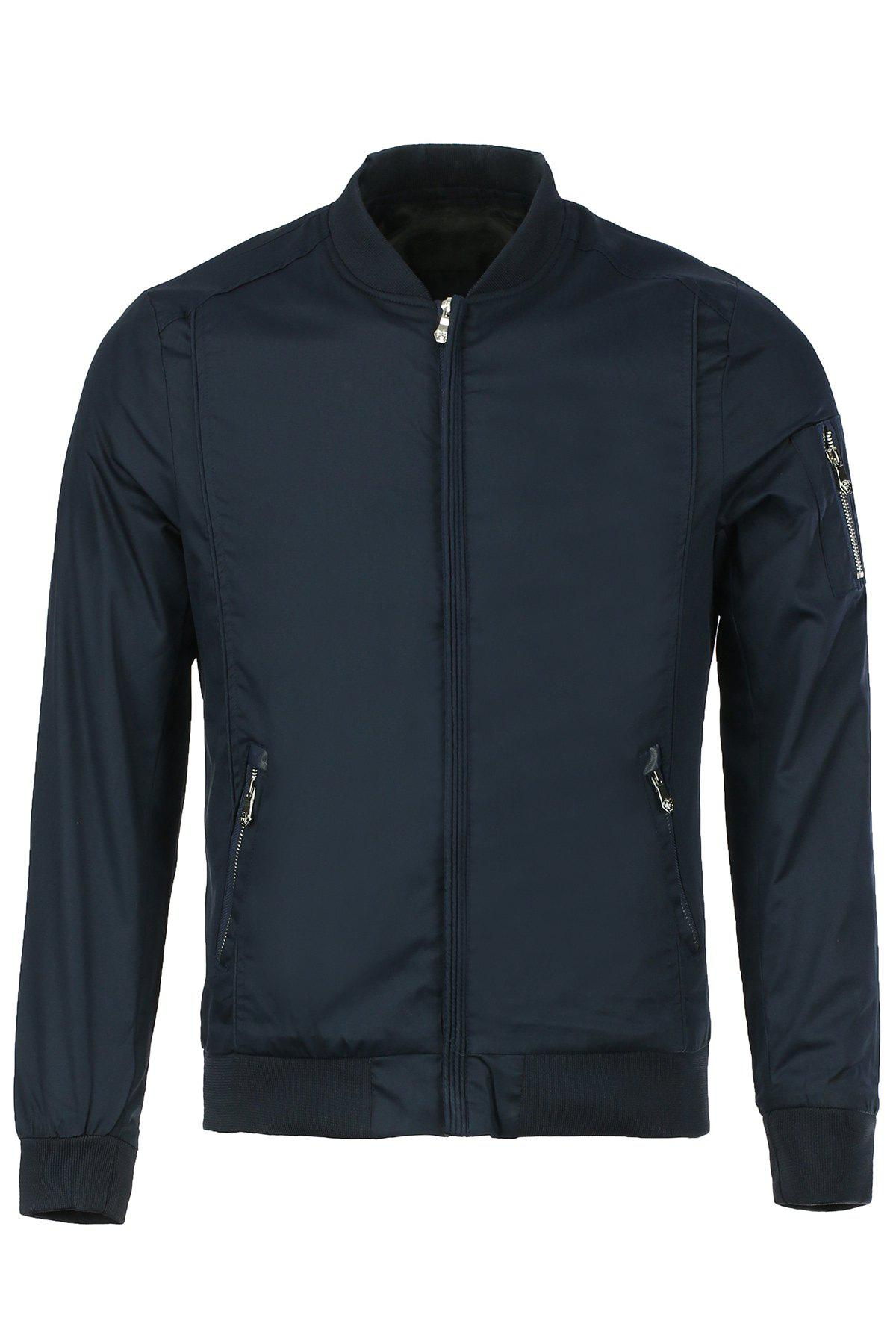 Multi-Zipper Solid Color Stand Collar Long Sleeves Men's Slimming Jacket - BLUE L