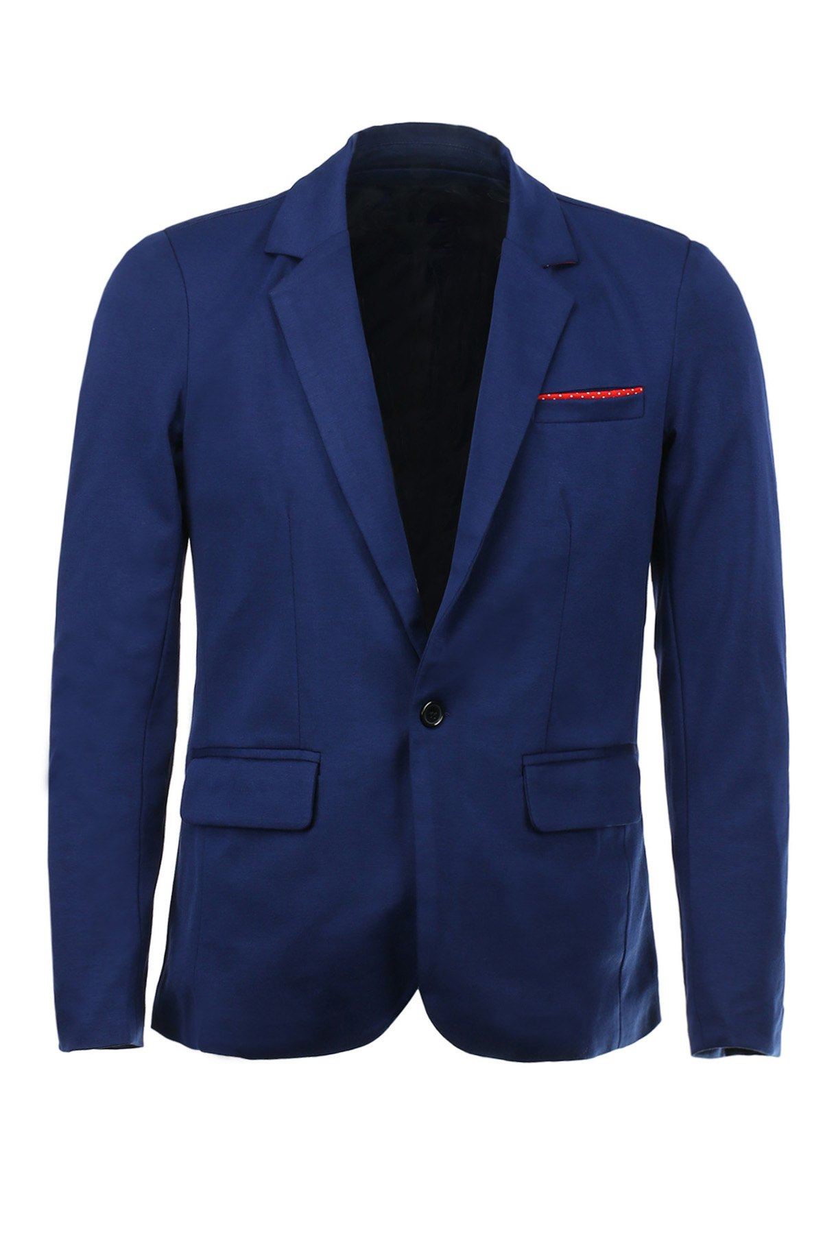 Color Block Polka Dot Spliced Lapel Long Sleeves Men's Single-Breasted Blazer - DEEP BLUE M