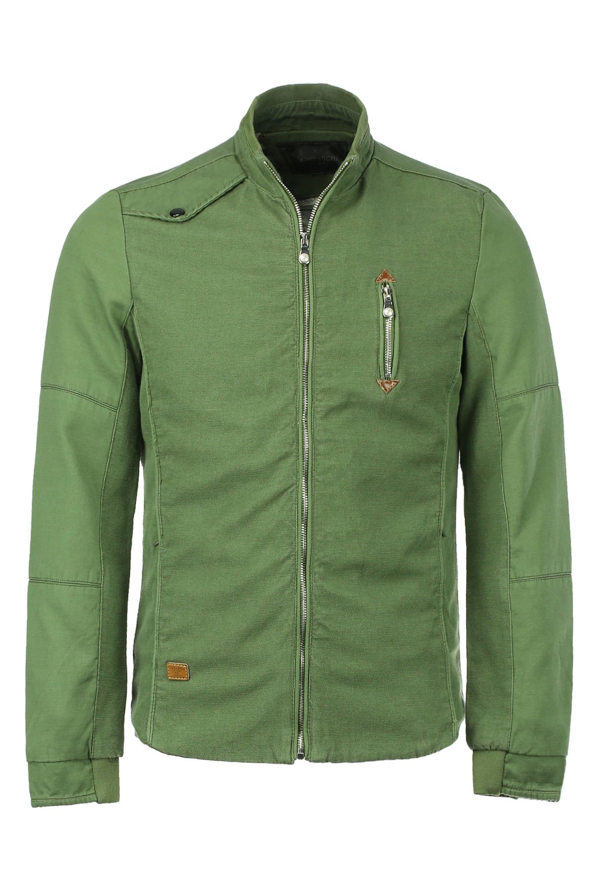 Modish Stand Collar Zipper and PU Leather Embellished Men's Long Sleeves Jacket - GREEN L