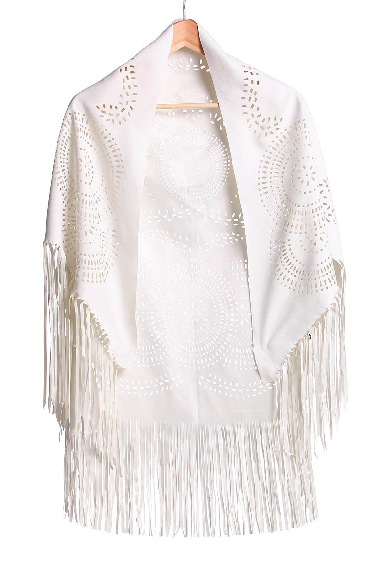 Stylish Half Sleeve Fringed Hollow Out Womens BlouseWomen<br><br><br>Size: S<br>Color: OFF-WHITE