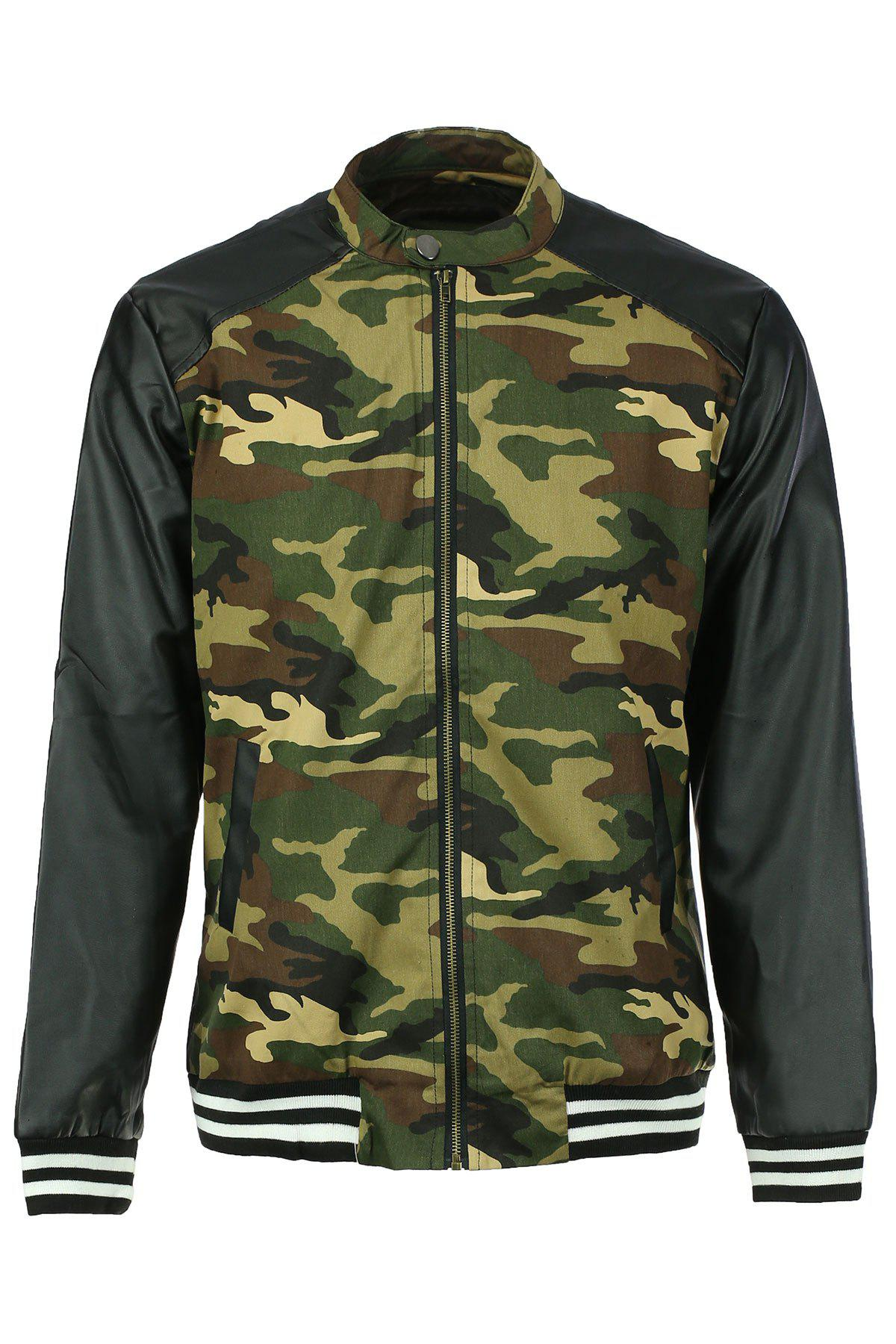 Buy Stand Collar Camouflage Print Splicing Long Sleeve PU-Leather Men's Jacket CAMOUFLAGE