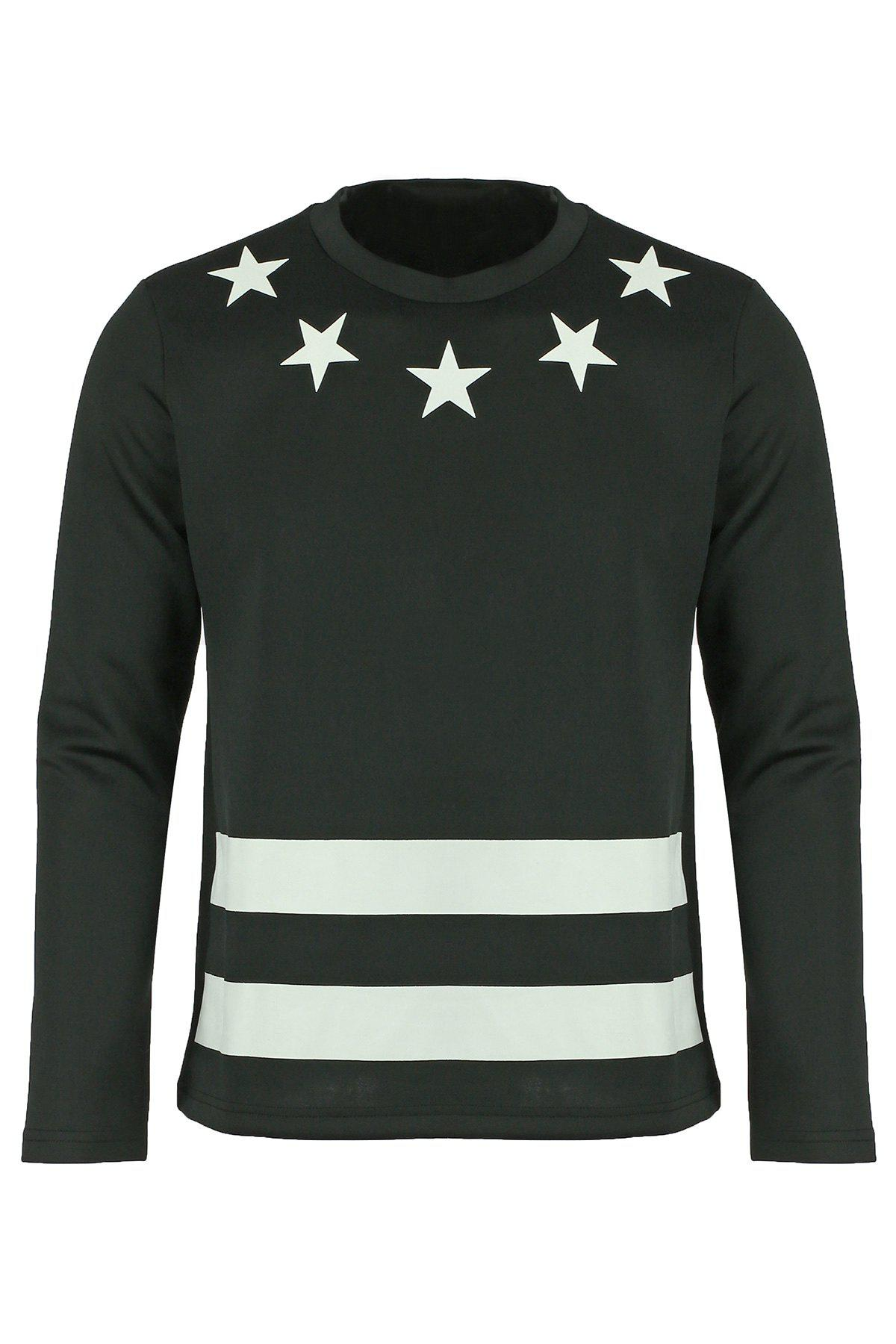 Round Neck Letters and Star Print Long Sleeve Men's Sweatshirt - BLACK L
