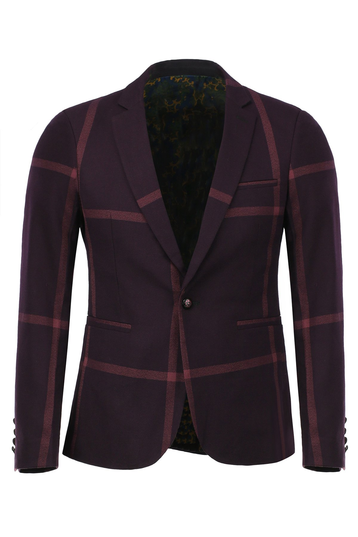 Fashion Slimming Lapel Color Block Plaid Men's Long Sleeves Blazer - RED M