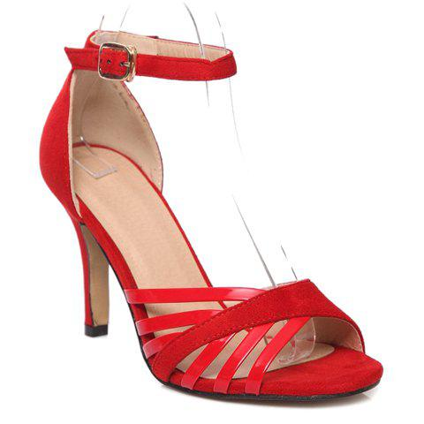 Stylish Splicing and Solid Color Design Women's Sandals - RED 39