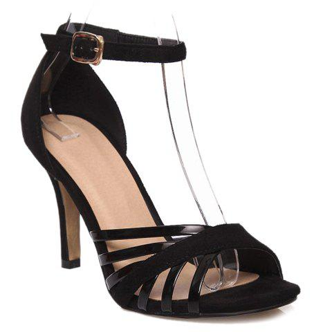 Stylish Splicing and Solid Color Design Women's Sandals - BLACK 39