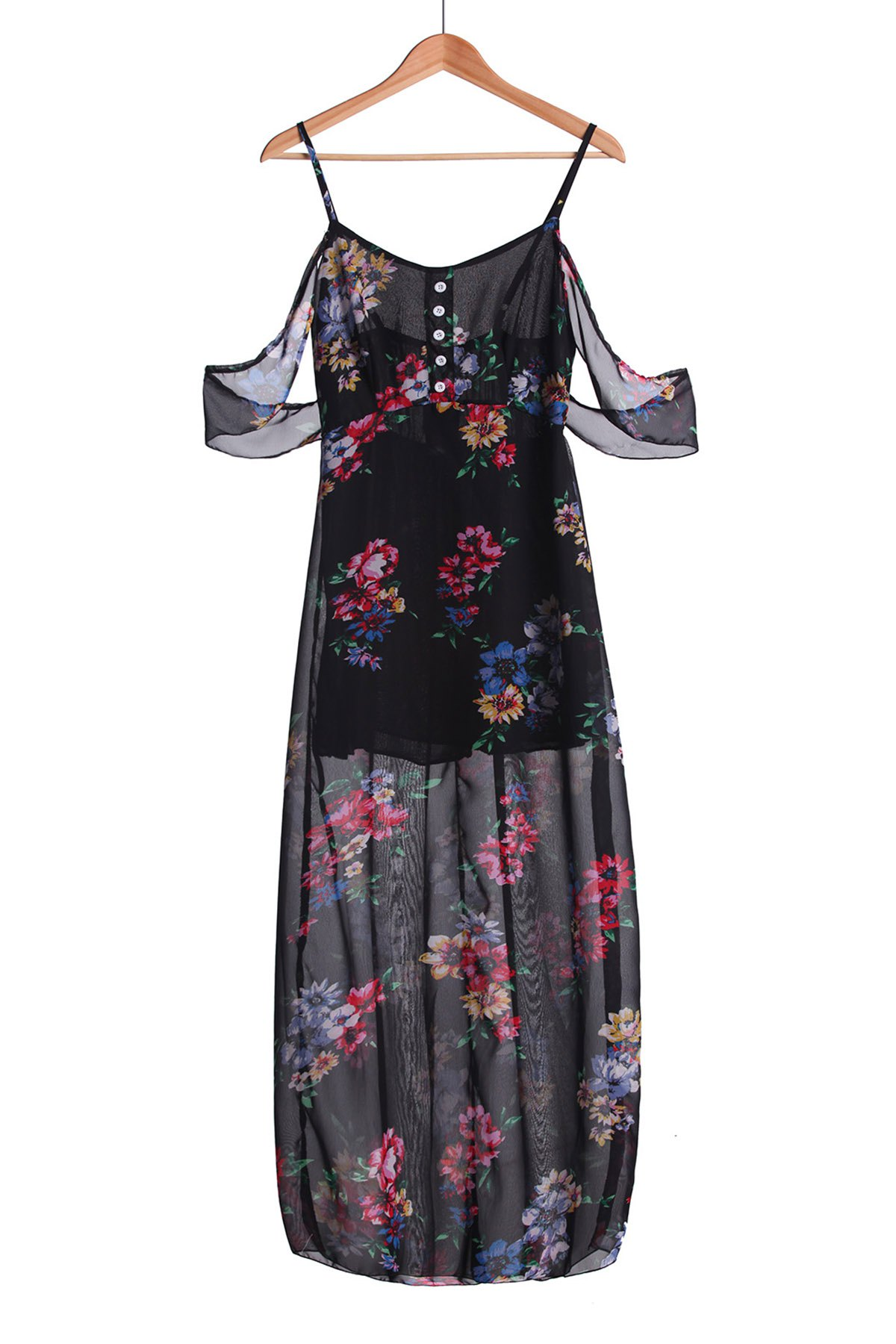Stylish Spaghetti Strap Floral Off The Shoulder Womens Maxi Dress