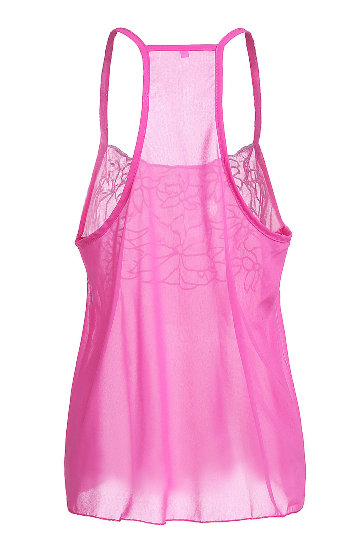 Casual Embroidered Flower Low Cut Chiffon Racerback Tank Top For Women - PINK M