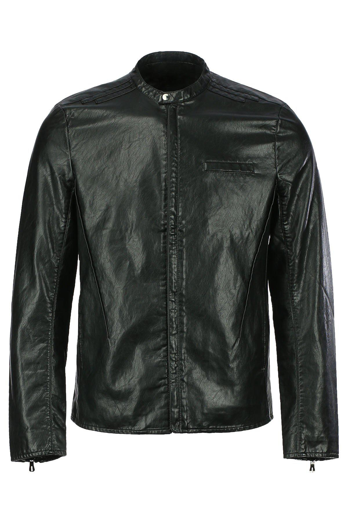 Vogue Stand Collar Zipper Cuffs Slimming Long Sleeves Men's PU Leather Jacket - BLACK L