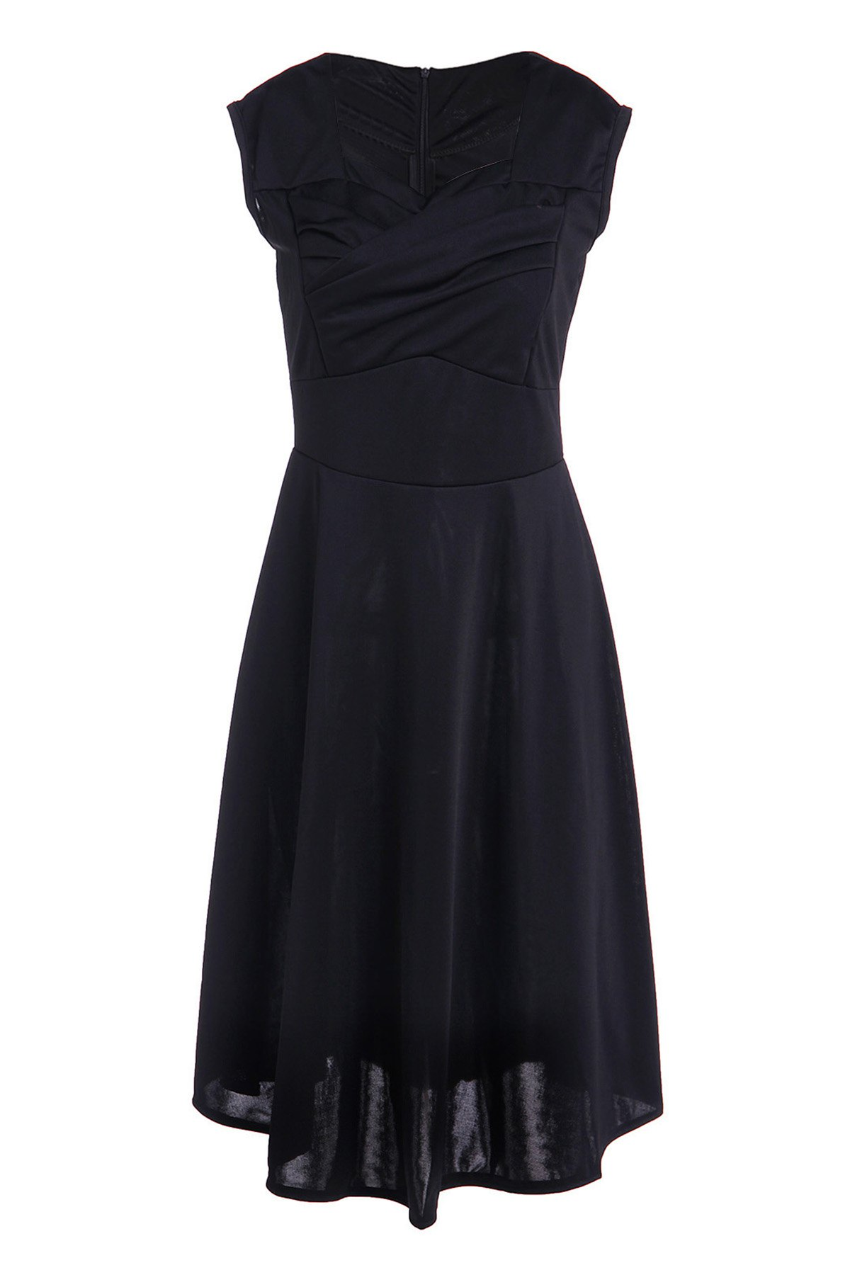 Vintage Pure Color Sweetheart Neck Sleeveless Dress For Women - BLACK L