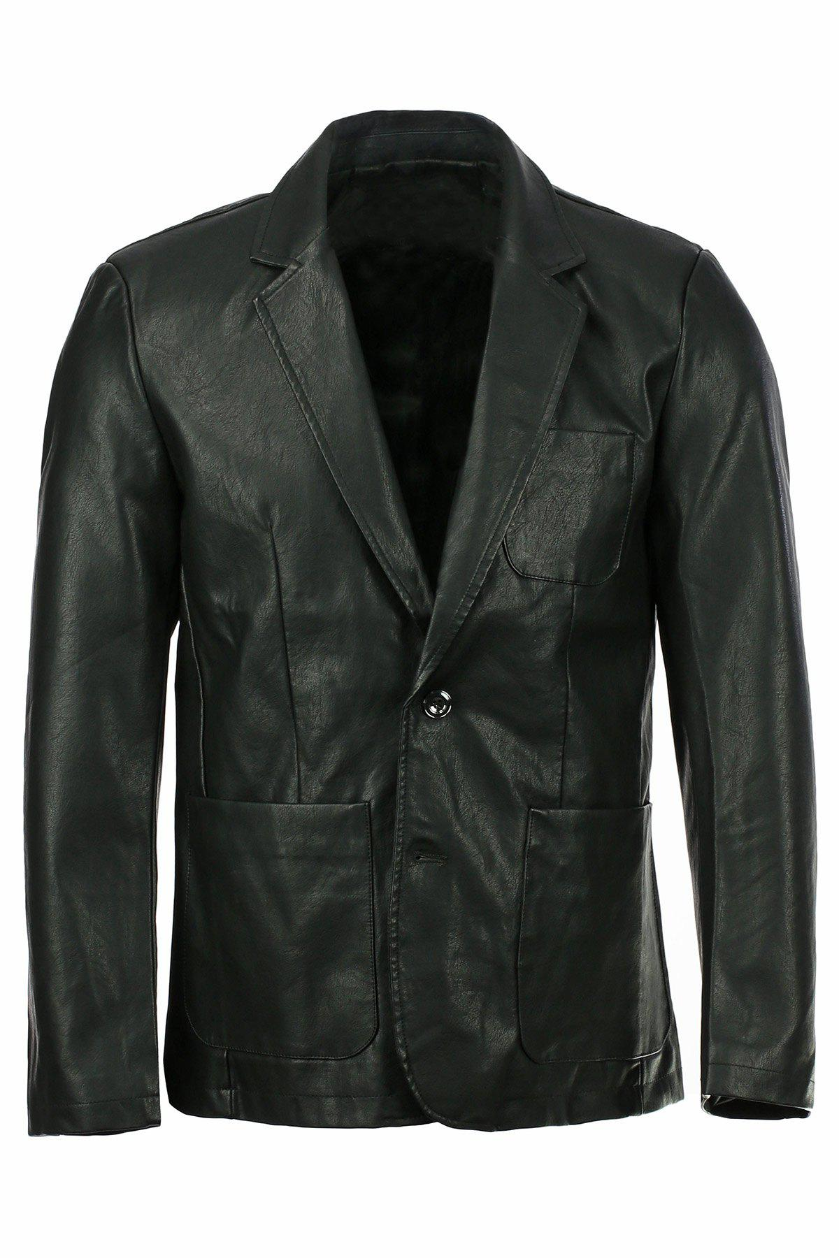Stereo Patch Pocket Solid Color Lapel Long Sleeves Men's PU Leather Blazer - BLACK 2XL