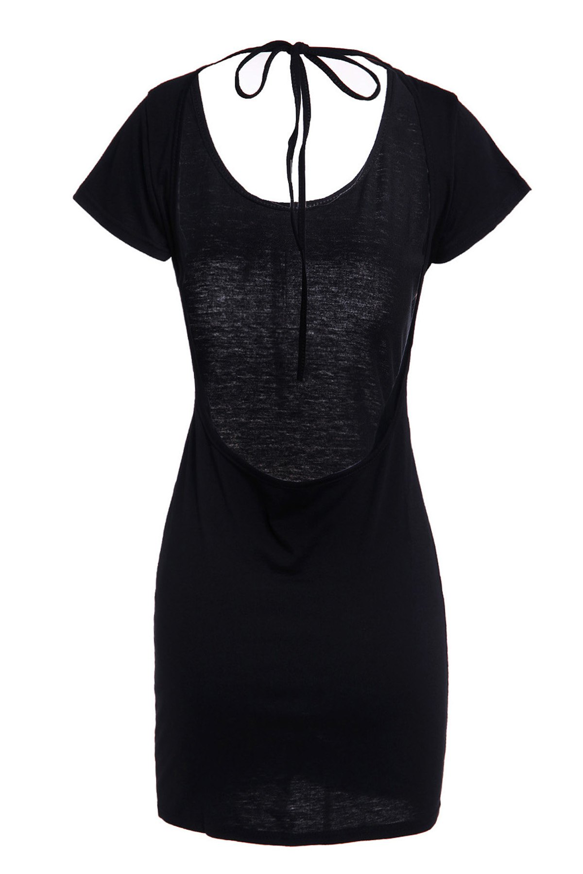 Sexy Women's Scoop Neck Short Sleeve Backless Mini Dress - BLACK M