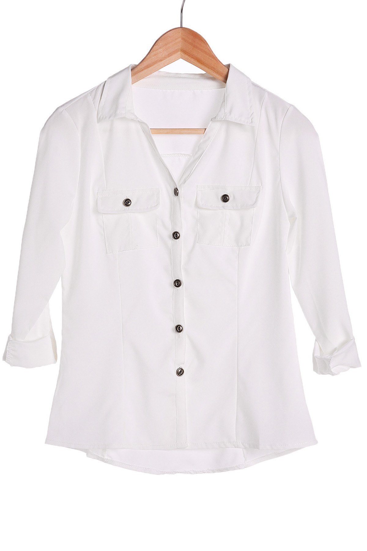 Stylish Turn-Down Collar White Single-Breasted Long Sleeve Women's Blouse