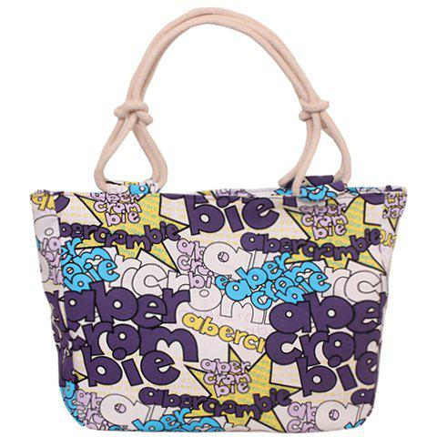 Casual Letter Print and Canvas Design Women's Tote Bag - PURPLE