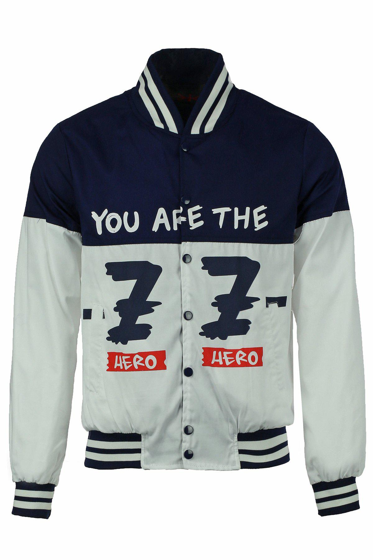 Stand Collar Letters Print Hit Color Rib Splicing Long Sleeve Men's Jacket - WHITE L