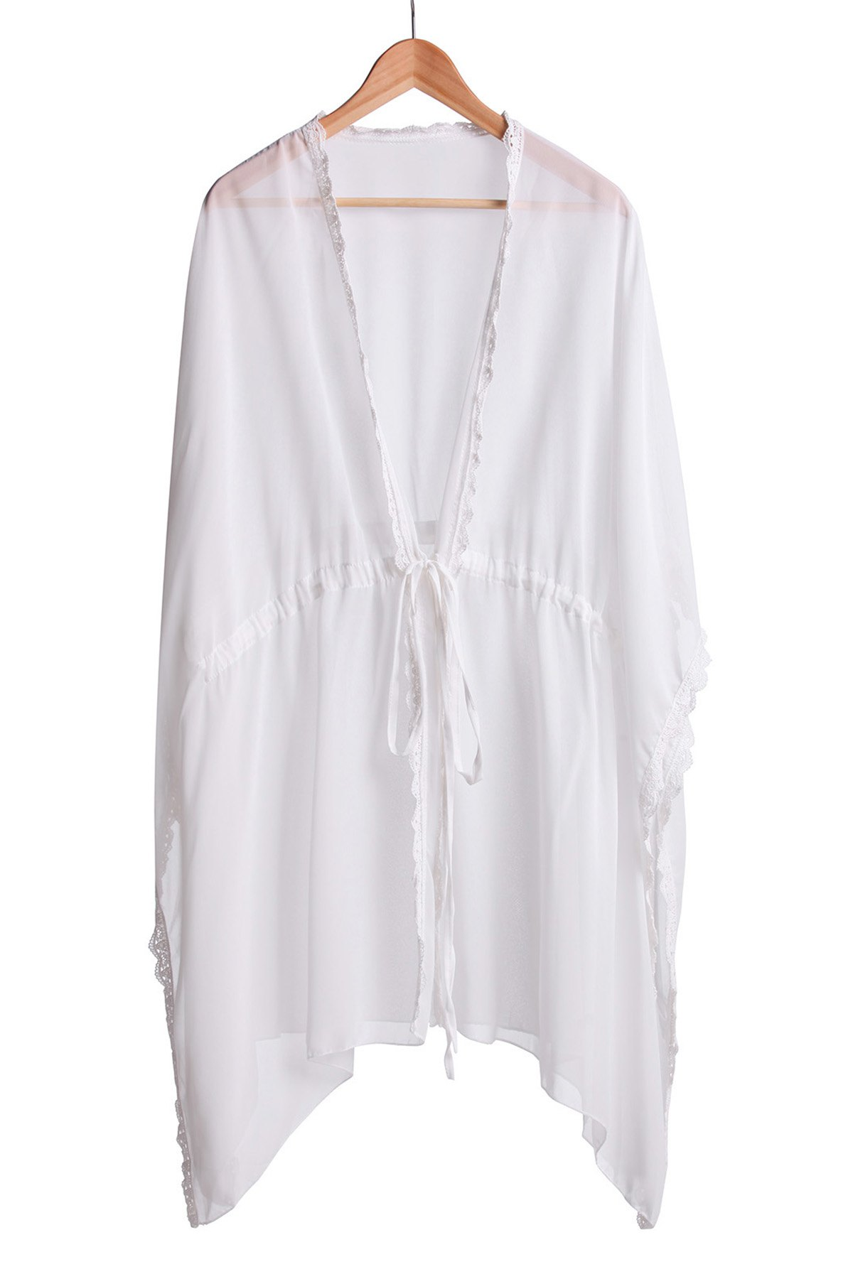 Sexy Lacework Splicing See-Through 3/4 Sleeve Women's Cover-Up - WHITE ONE SIZE(FIT SIZE XS TO M)