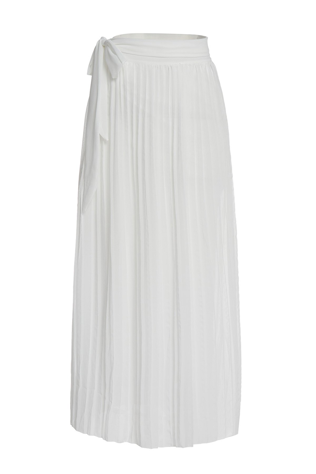 Sexy High Slit White Flounced Skirt For Women - WHITE S