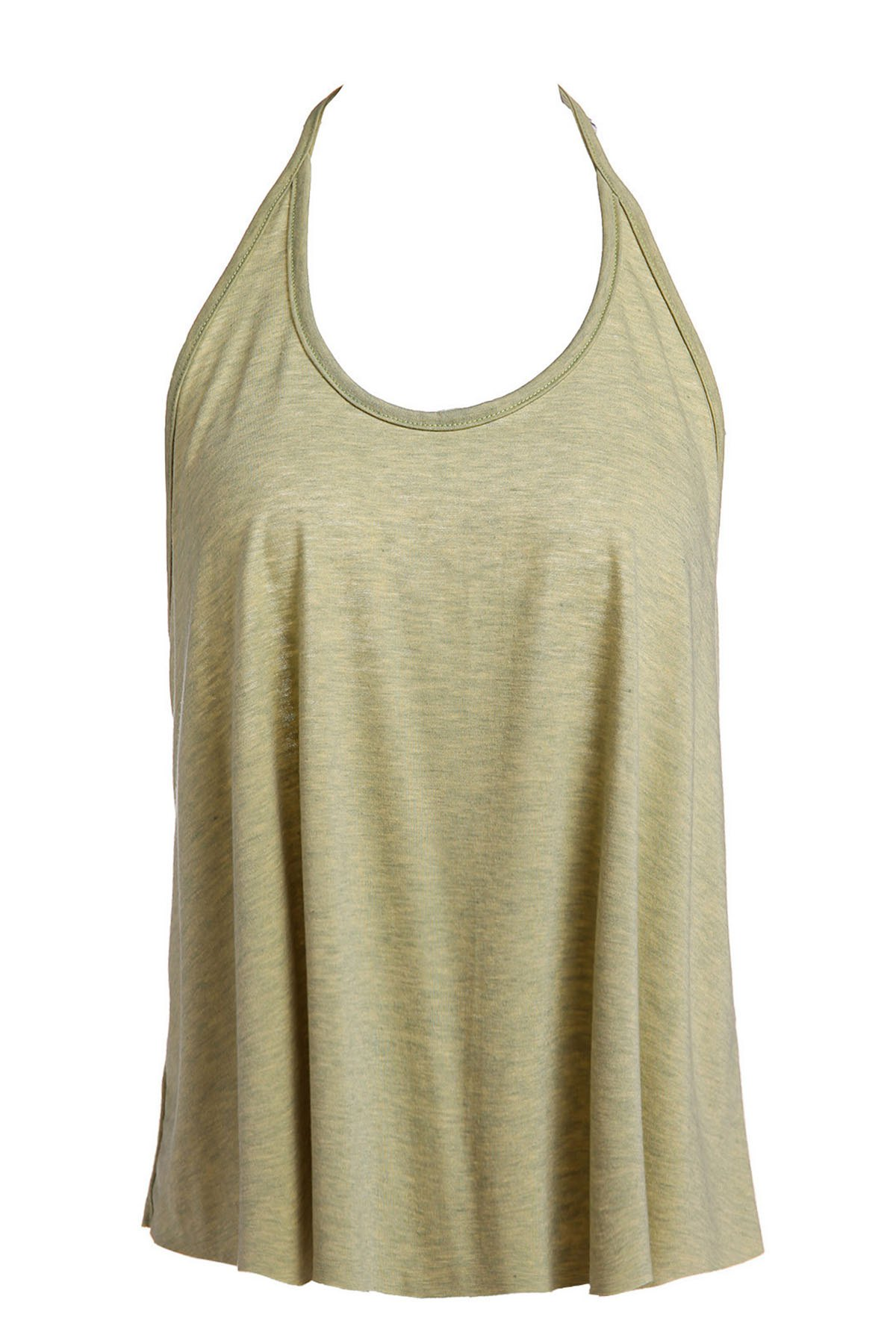 Sexy Open Back Spaghetti Strap Solid Color Women's Tank Top - OLIVE GREEN S