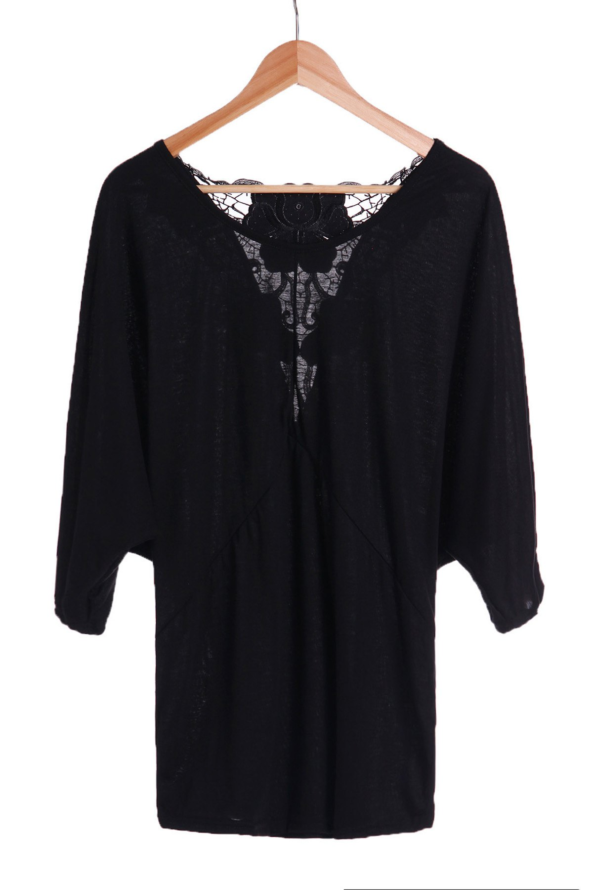 Trendy Backless Lace Spliced Batwing Sleeve Black Blouse For Women