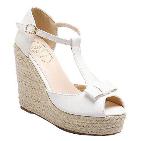 Stylish Bowknot and Peep Toe Design Women's Sandals - WHITE 38