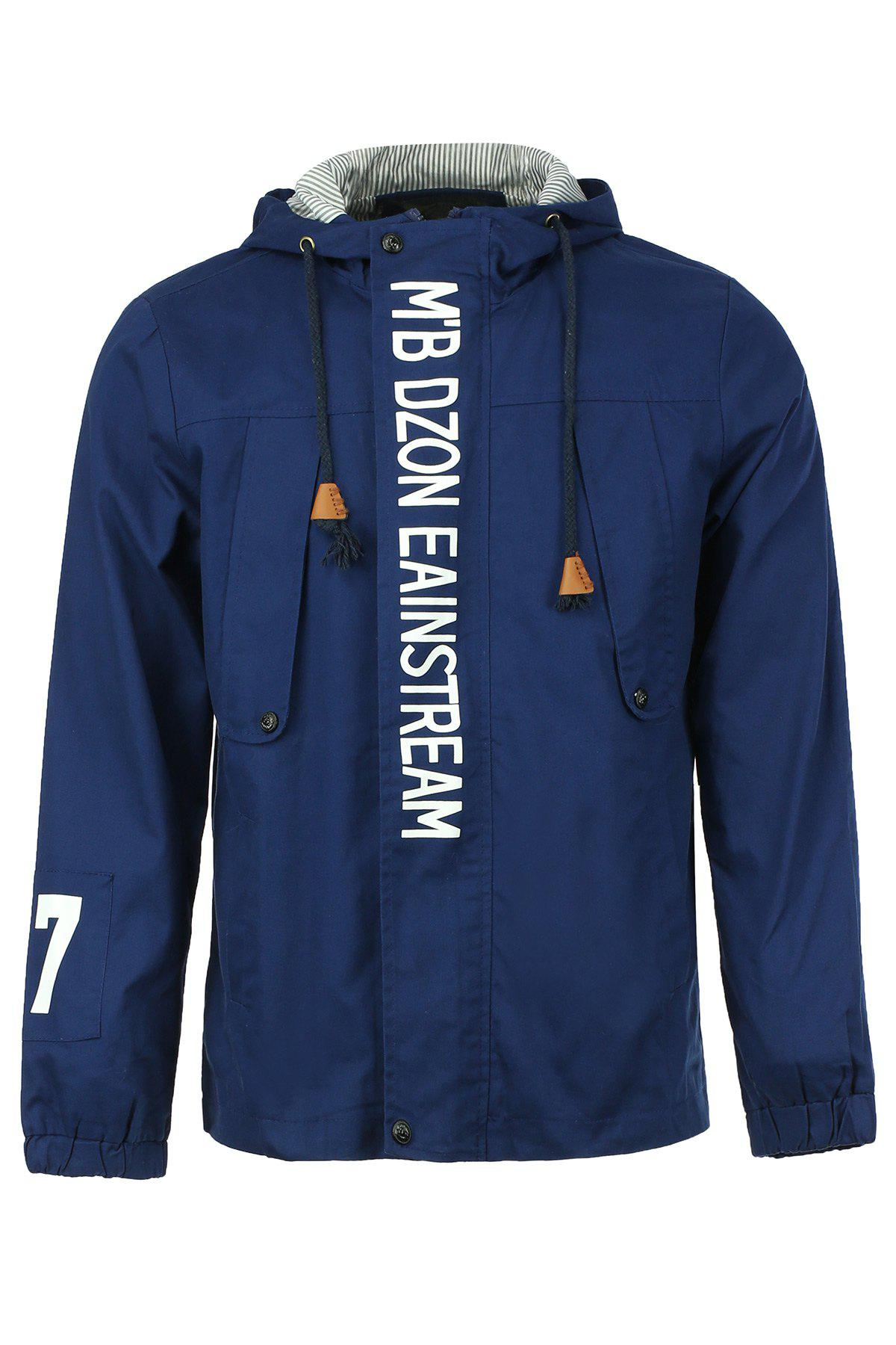 Modish Drawstring Letters Pattern Elastic Cuffs Long Sleeve Men's Jacket - CADETBLUE M