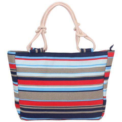 Casual Color Block and Stripes Design Women's Tote Bag - RED
