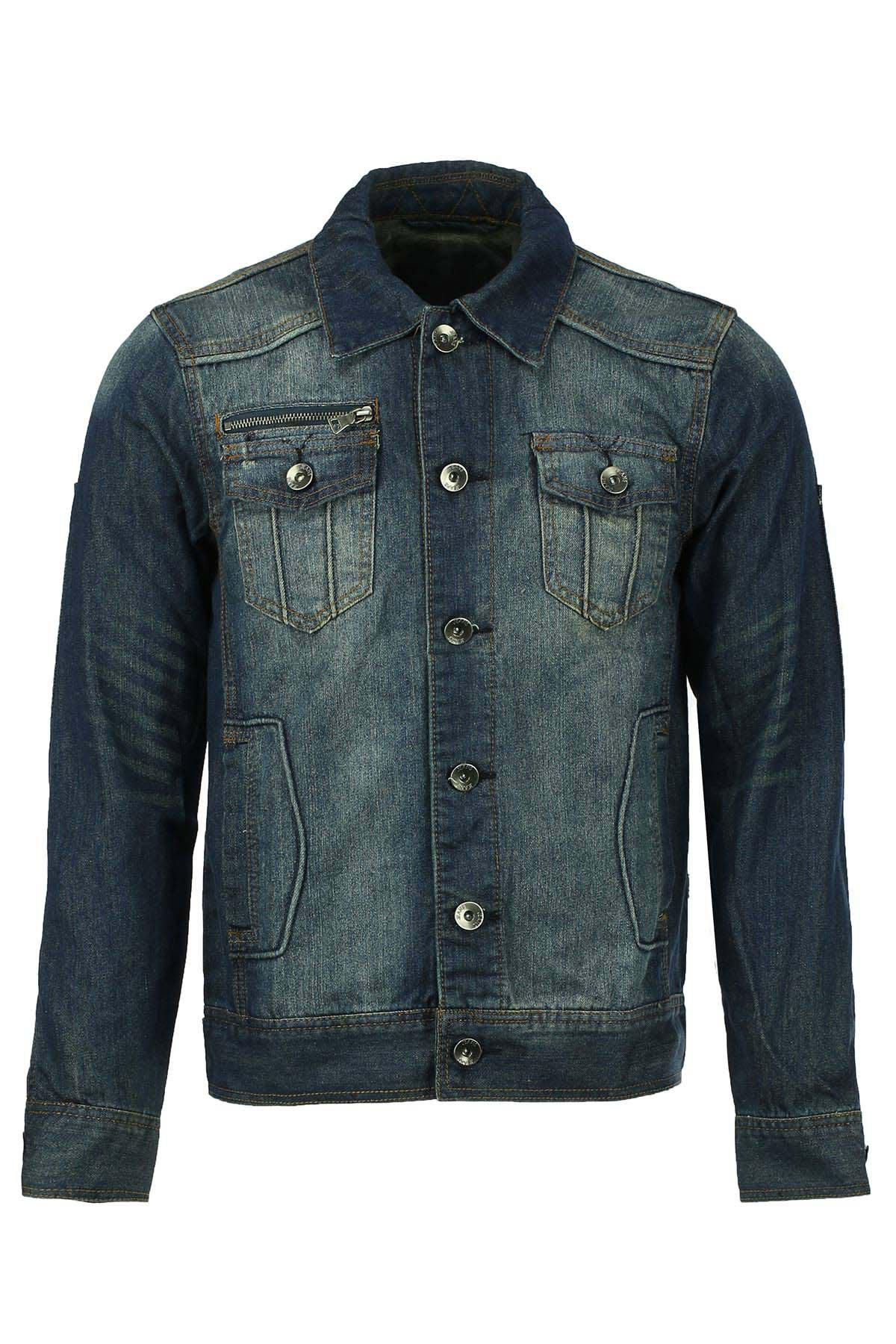 Turn-Down Collar Bleach Wash Flap Patch Pocket Long Sleeve Men's Denim Jacket - BLUE 2XL