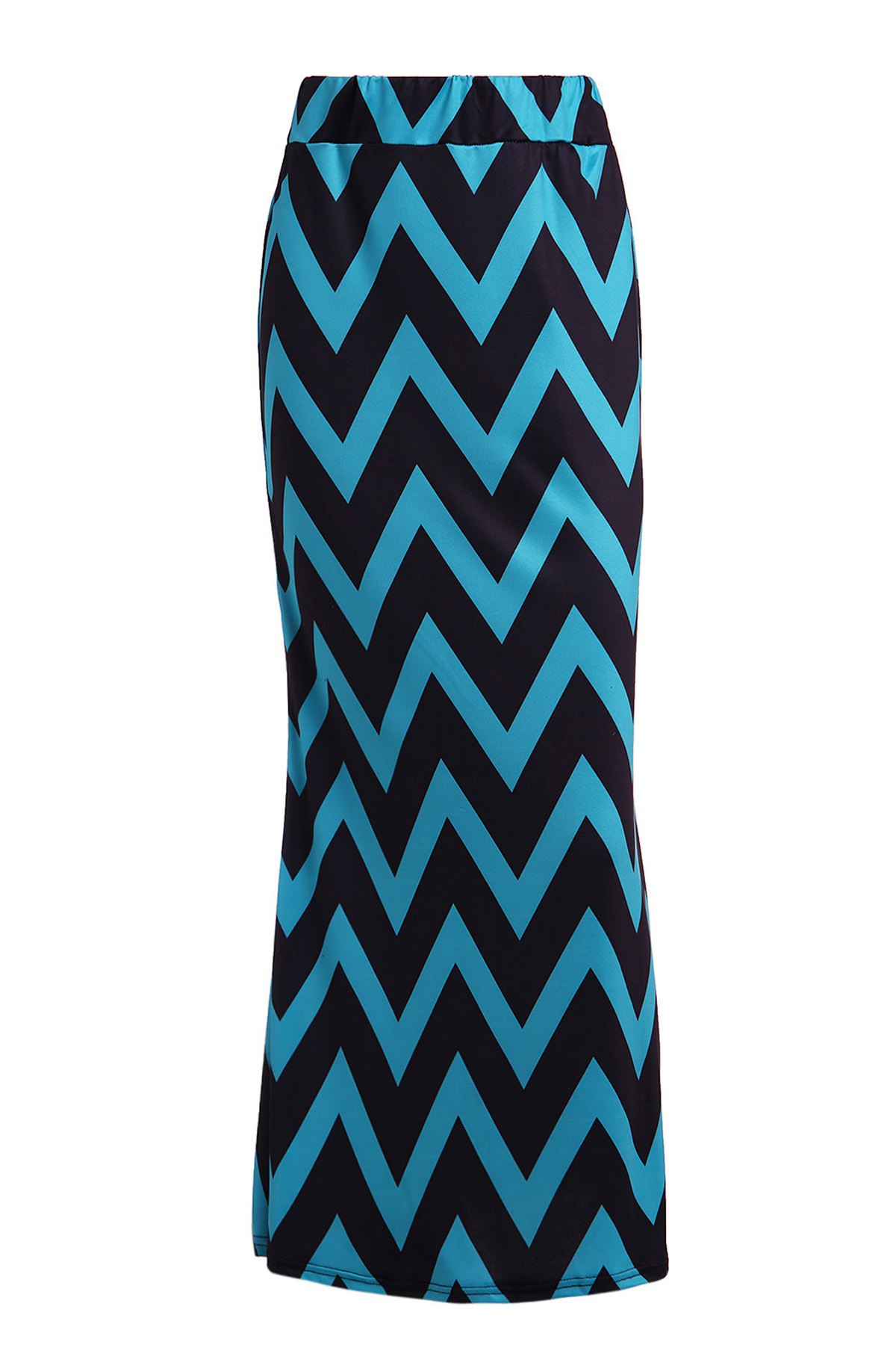 Sweet Zigzag Color Block Skirt For Women - BLUE/BLACK M