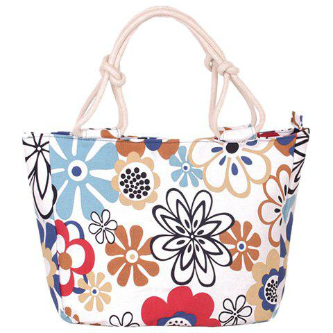 Sweet Floral Print and Color Block Design Women's Tote Bag - WHITE