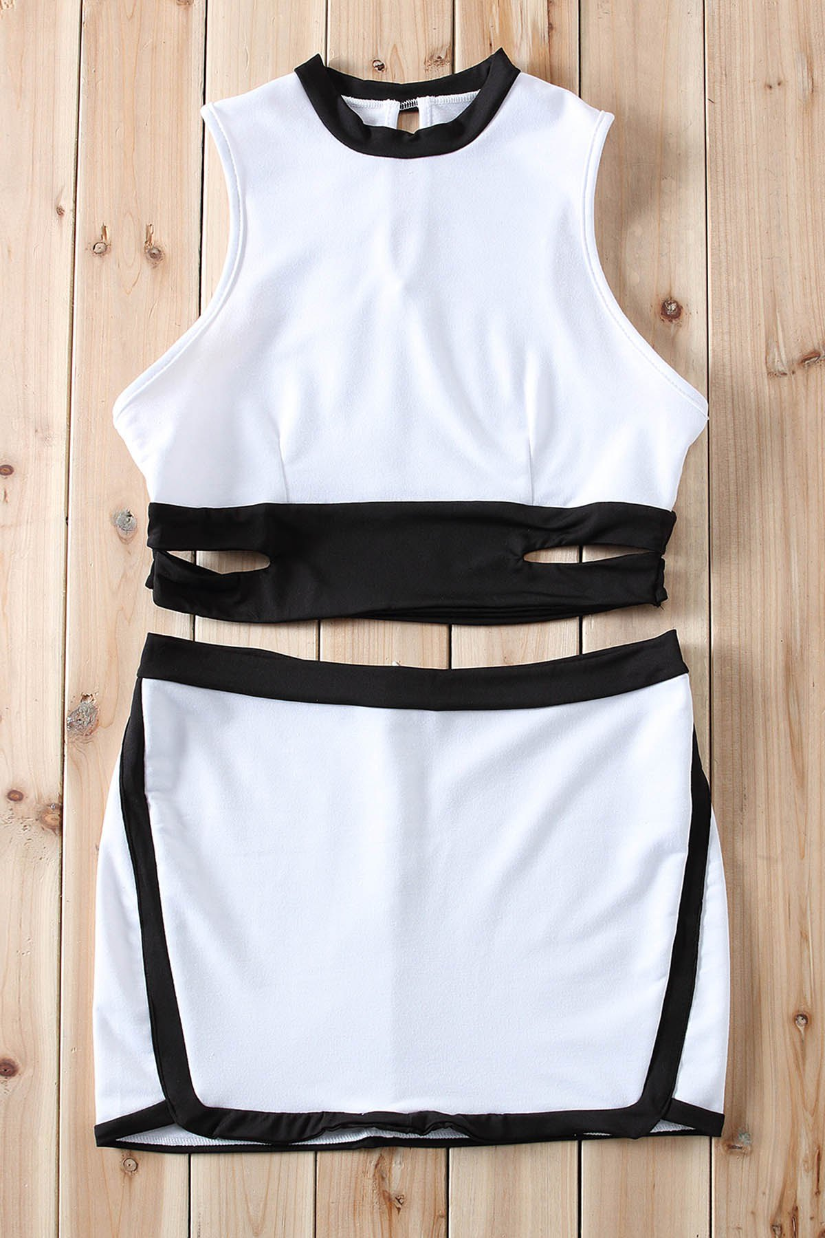 Sexy Hollow Out Stand Collar Backless Crop Top and Skirt Twinset For Women - WHITE S