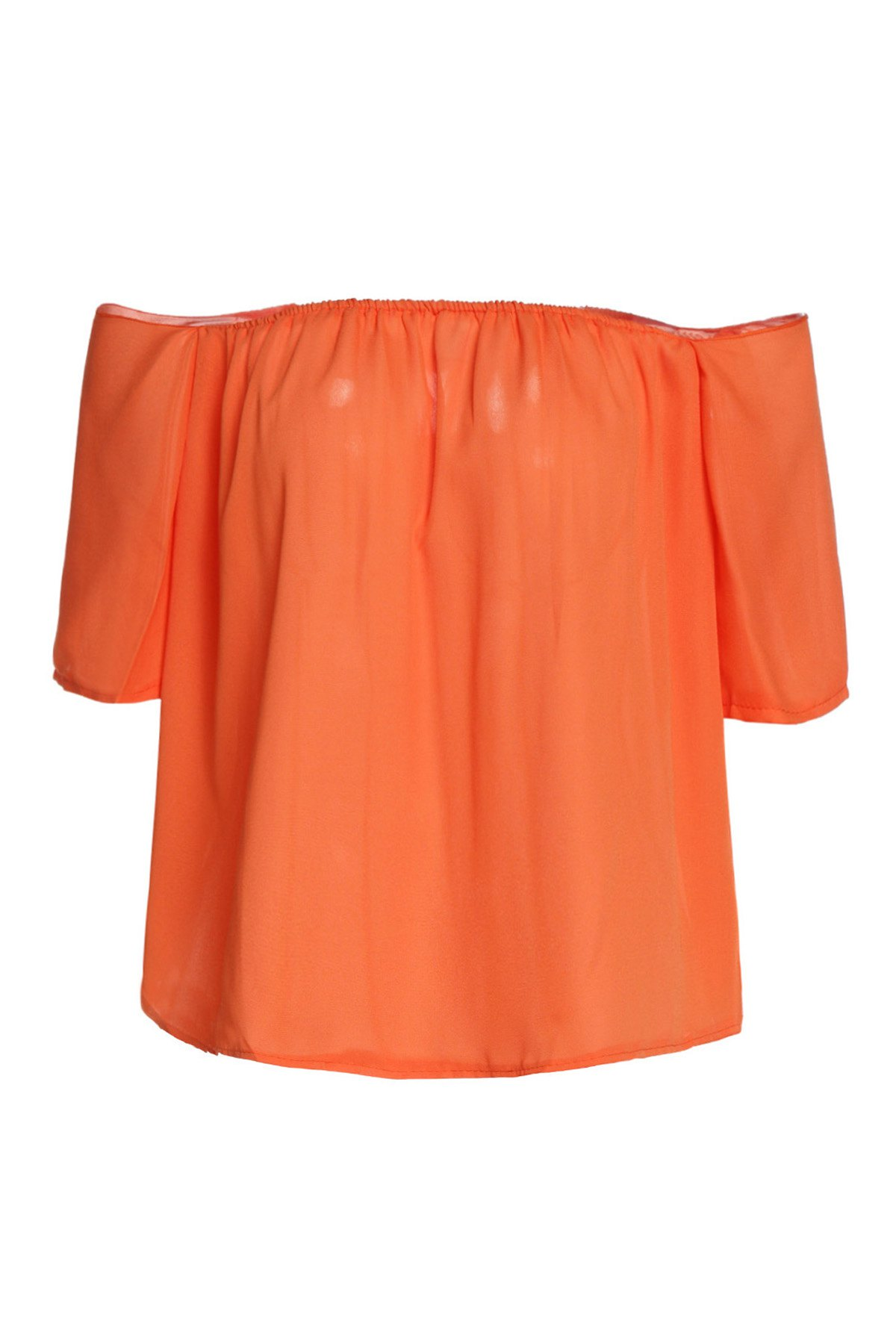 Sexy Off-The-Shoulder Solid Color Pleated Blouse For Women