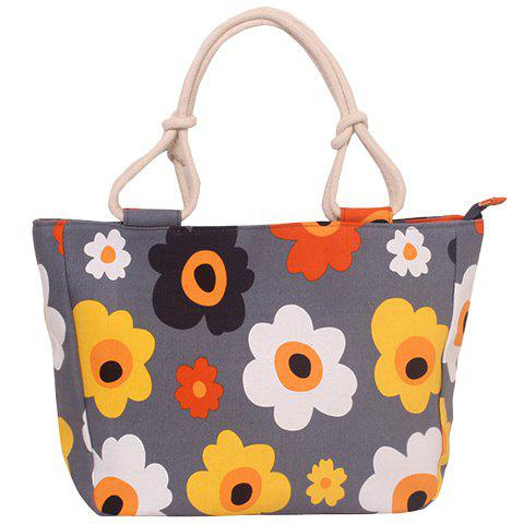 Sweet Flower Print and Canvas Design Women's Tote Bag - YELLOW