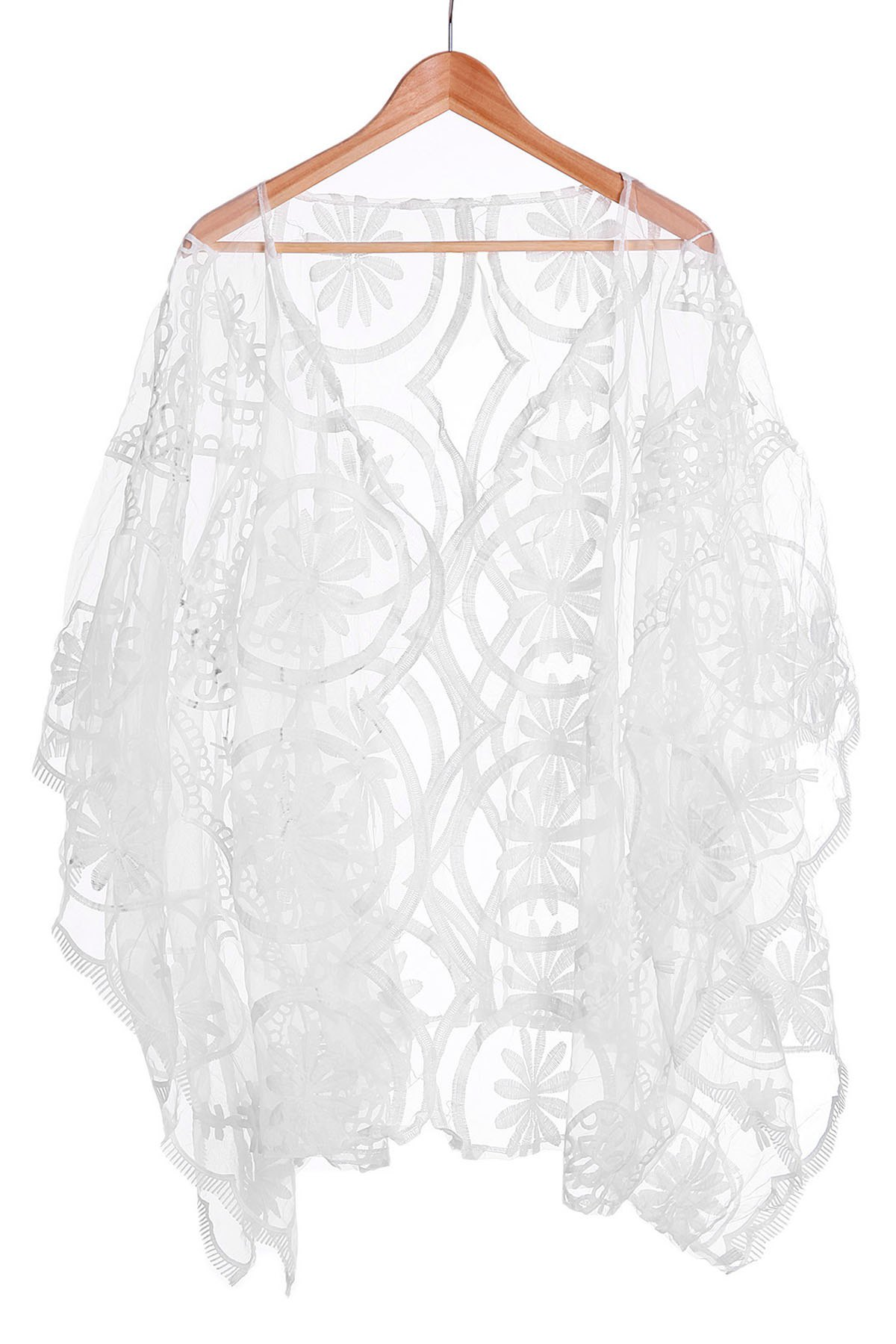Alluring V-Neck 3/4 Sleeve Hollow Out See-Through Women's Cover-Up - WHITE M