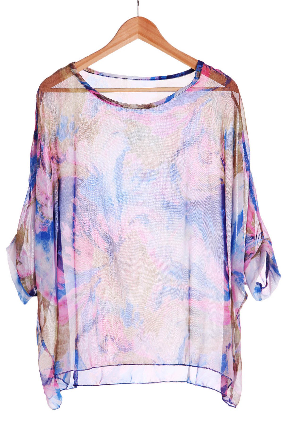 Stylish Scoop Neck 3/4 Sleeve Plus Size Printed Women's T-Shirt - COLORMIX ONE SIZE(FIT SIZE XS TO M)