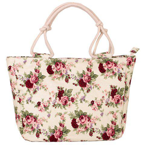 Sweet Canvas and Floral Printed Design Women's Tote Bag - RED