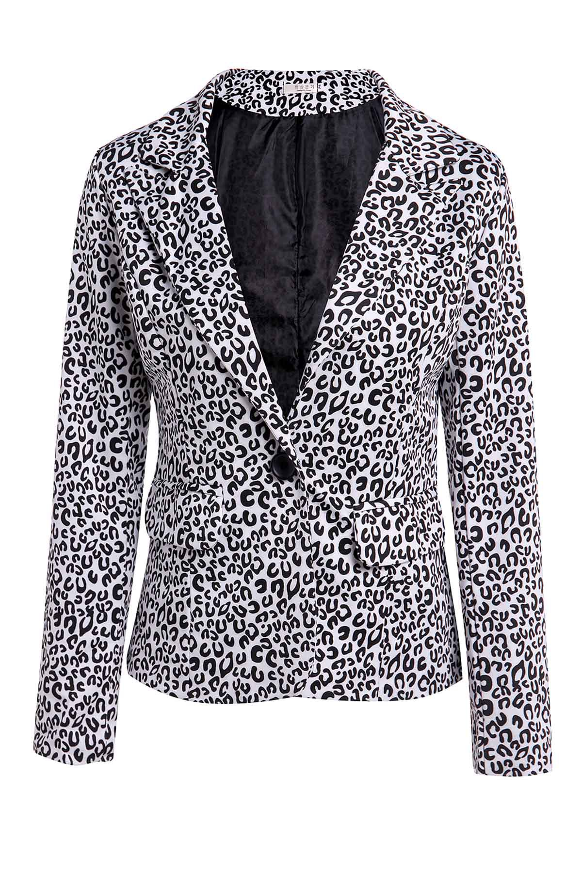 Elegant Women's Lapel Neck Long Sleeve Leopard Print Blazer - BLACK S