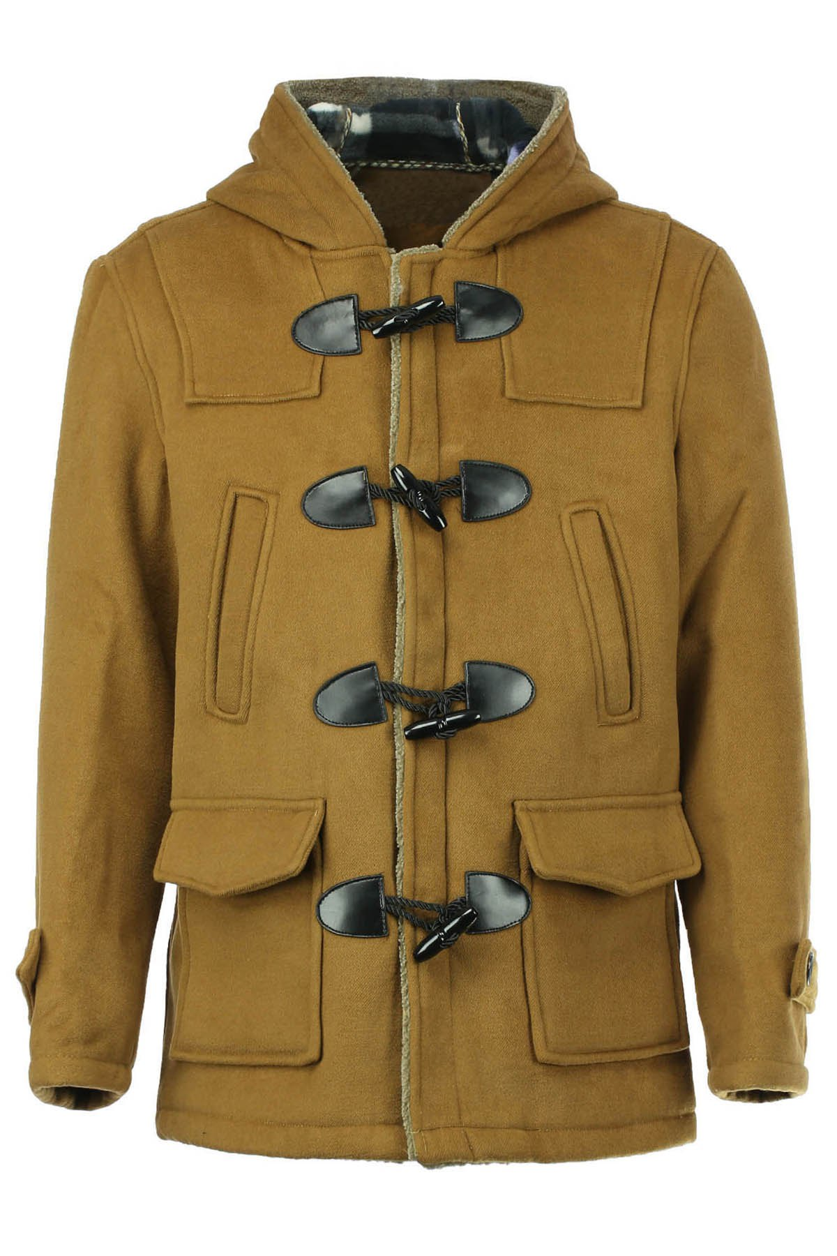PU Leather Spliced Stereo Pocket Horn Button Hooded Long Sleeves Men's Cashmere Blend Coat - KHAKI 2XL