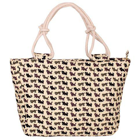 Cute Cat Print and Canvas Design Women's Tote Bag