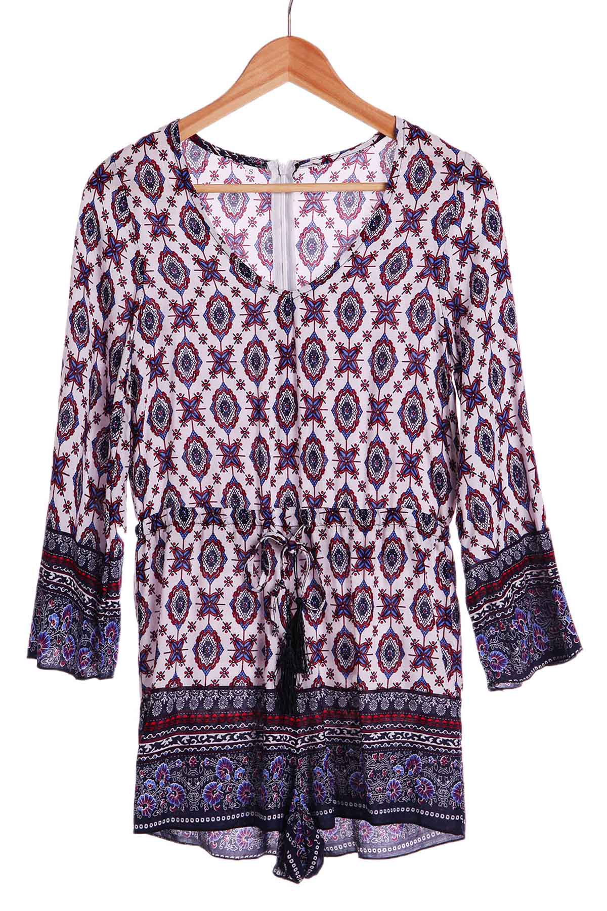 Ethnic Tribe Print Plunging Neck Long Sleeve Romper For Women - COLORMIX S