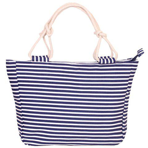 Navy Style Striped and Canvas Design Tote Beach Bag - STRIPE