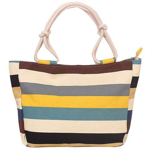 Leisure Colorful Stripe and Canvas Design Women's Tote Bag