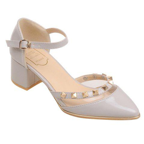 Stylish Transparent Plastic and Pointed Toe Design Women's Pumps - GRAY 38