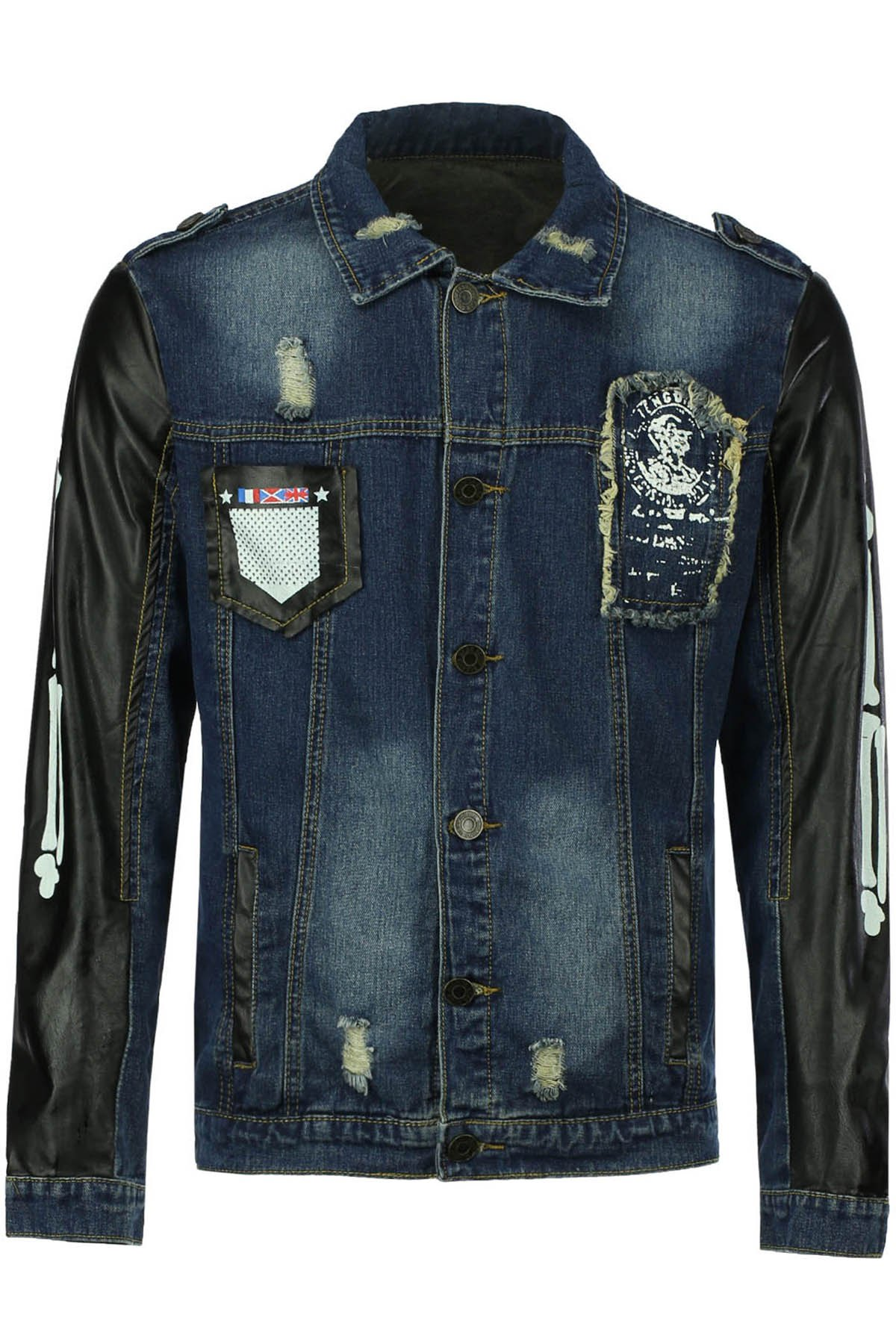 Turn-Down Collar Applique Embellished PU-Leather Splicing Long Sleeve Men's Denim Coat - BLUE 2XL