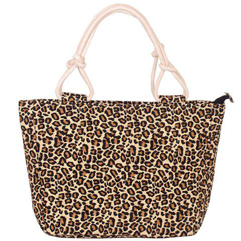 Leisure Leopard Print and Canvas Design Women's Tote Bag