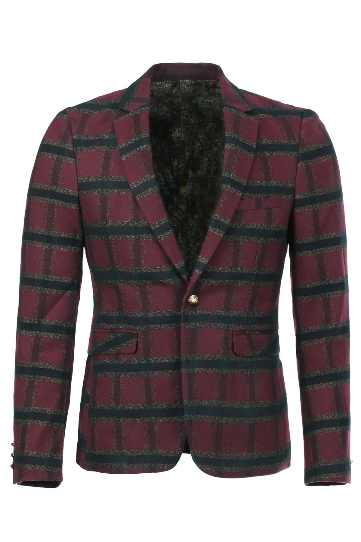 Slim Fit Long Sleeves Plaid Single Button Blazer For Men
