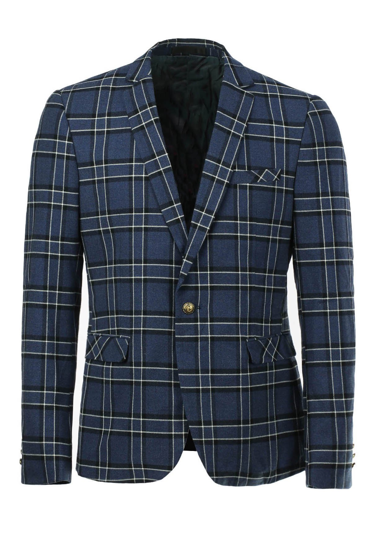 Slim Fit Single Button Long Sleeves Checked Blazer For Men - BLUE L