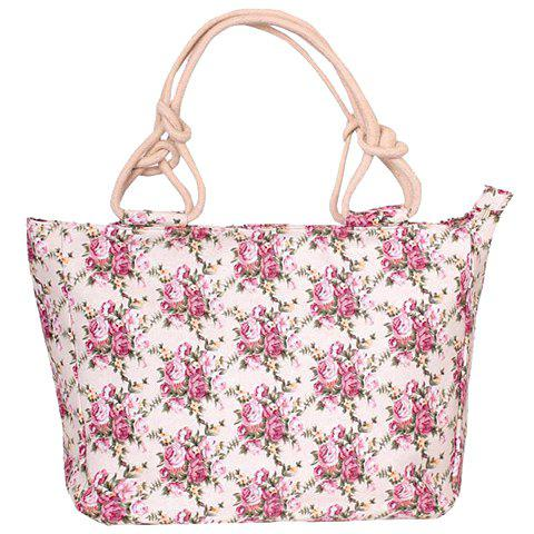 Sweet Floral Print and Canvas Design Women's Tote Bag - PINK
